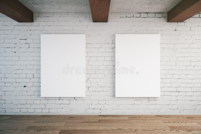 Affiches sur le mur de briques illustration libre de droits