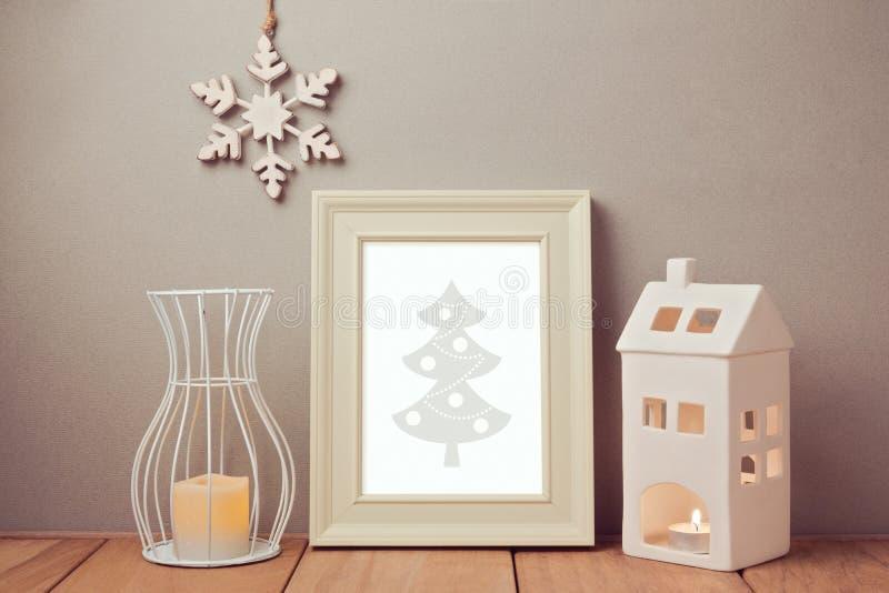 Affichespot op malplaatje voor Kerstmis en Nieuwjaarvakantie royalty-vrije stock afbeelding