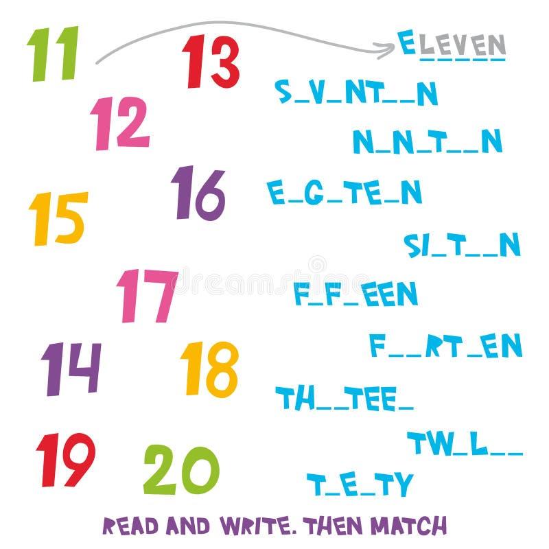 affichez et écrivez Assortissez alors les numéros 11 20 Les enfants exprime apprendre le jeu, fiches de travail avec les graphiqu illustration de vecteur