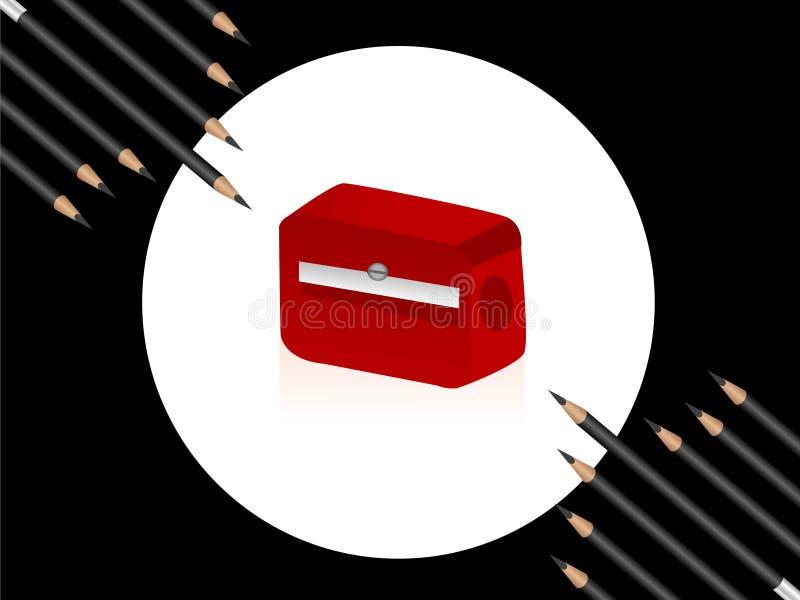 Affilatrice e matite immagini stock