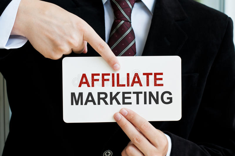 Affiliate Marketing Card In Male Hands stock photo