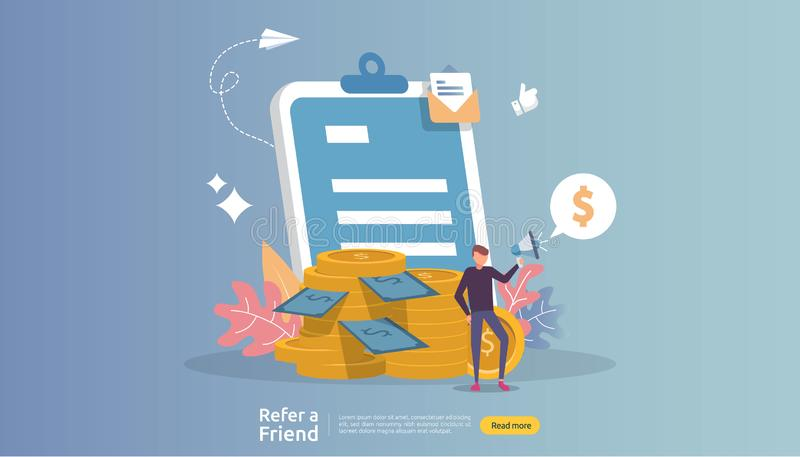 Affiliate marketing concept. refer a friend strategy. people character shout megaphone sharing referral business partnership and. Earn money. template for web stock illustration