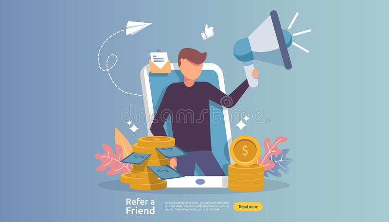 affiliate marketing concept. refer a friend strategy. people character shout megaphone sharing referral business partnership and royalty free illustration