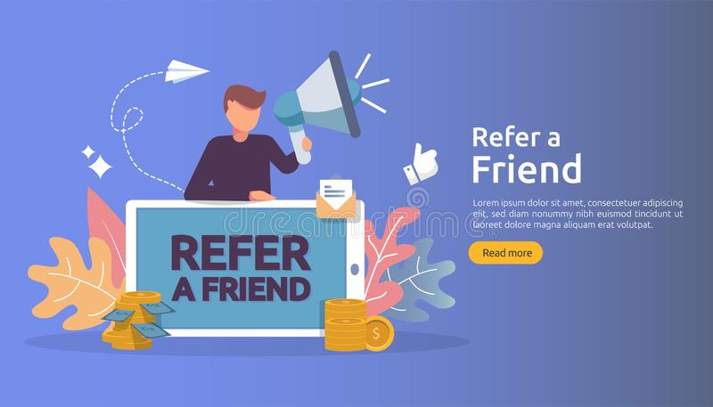 affiliate marketing concept. refer a friend strategy. people character shout megaphone sharing referral business partnership and vector illustration