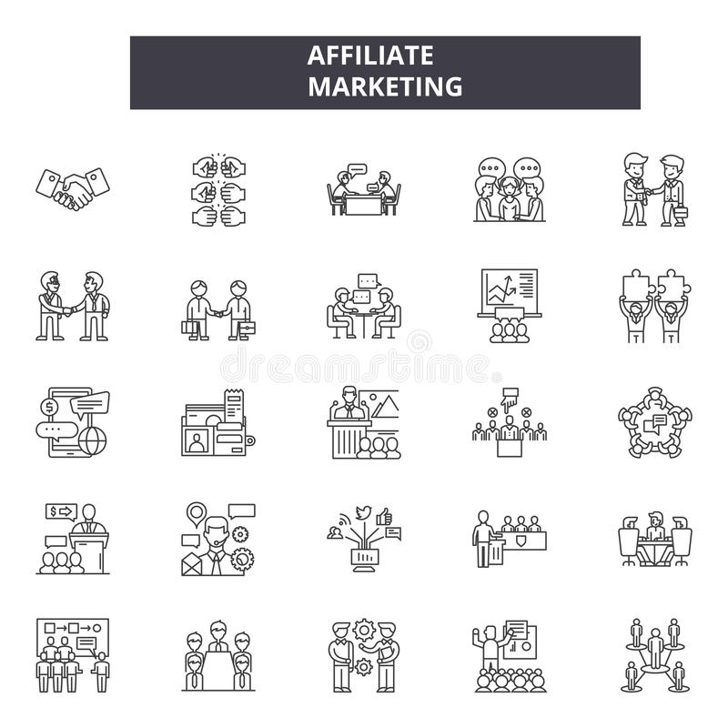 Affiliate marketing line icons. Editable stroke signs. Concept icons: business, advertising network, social media. Affiliate marketing line icons. Editable stock illustration