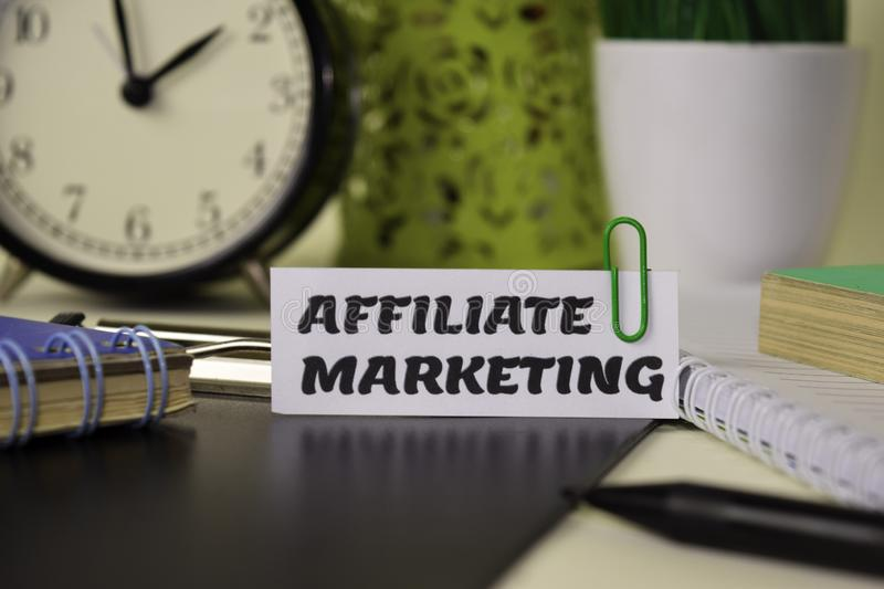 Affiliate Marketing on the paper isolated on it desk. Business and inspiration concept stock image