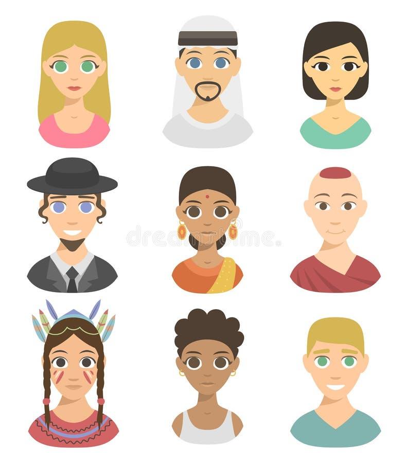 Affiliation d'avatars de différents de nations de personnes de portraits teints frais d'appartenance ethnique différents et vecte illustration stock