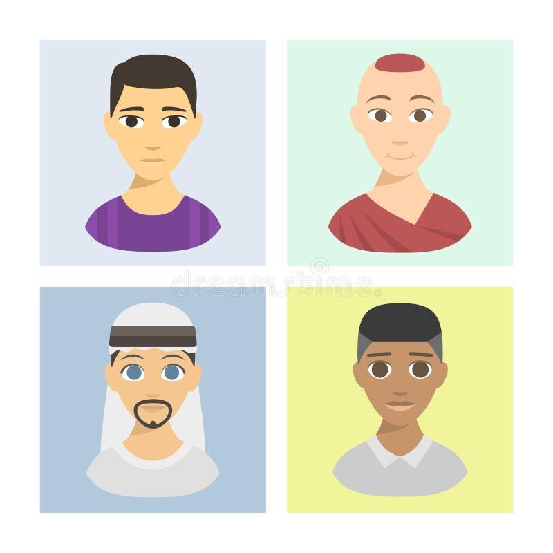 Affiliation ethnique et cheveux d'avatars de différents de brochure de nations de personnes de portraits teints frais d'appartena illustration de vecteur