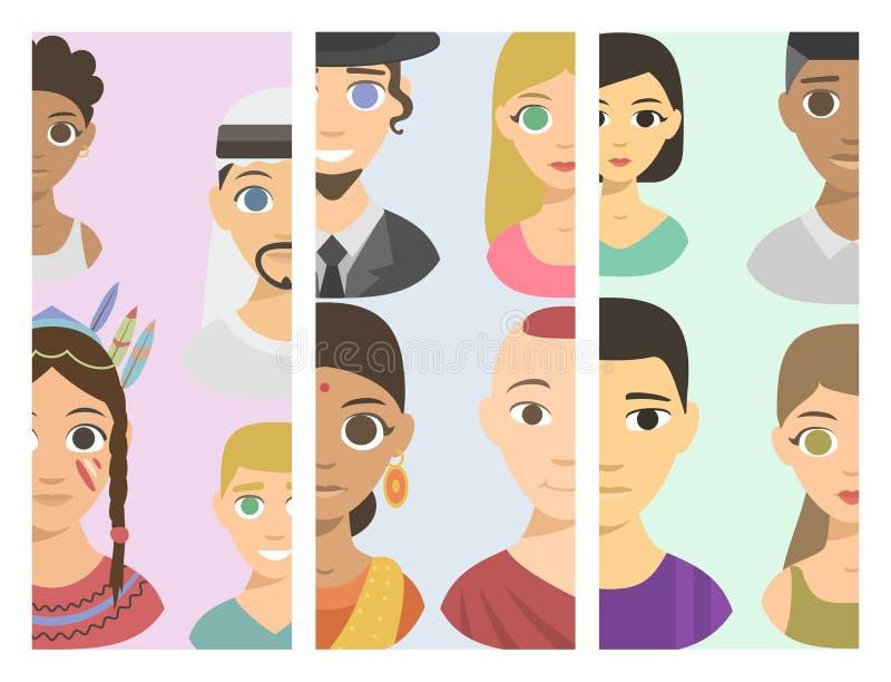 Affiliation ethnique et cheveux d'avatars de différents de brochure de nations de personnes de portraits teints frais d'appartena illustration libre de droits