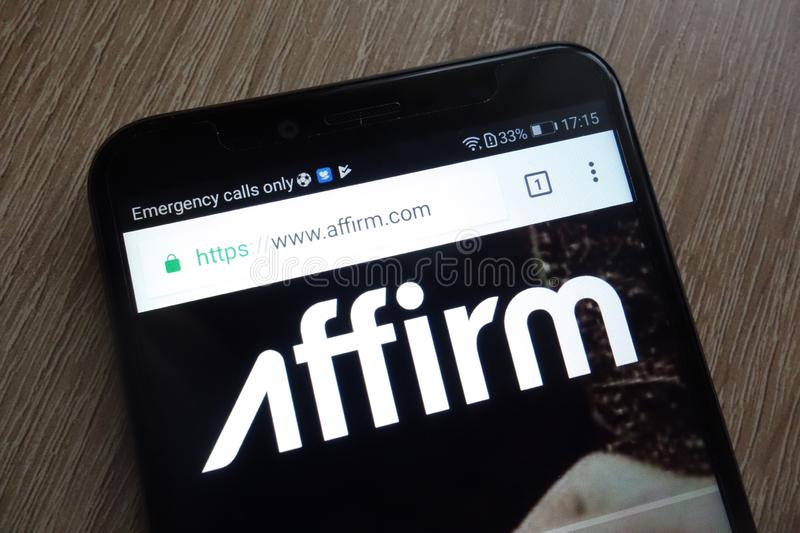 Affirm fintech company website displayed on a modern smartphone. KONSKIE, POLAND - JULY 17, 2018: Affirm fintech company website displayed on a modern smartphone stock photos