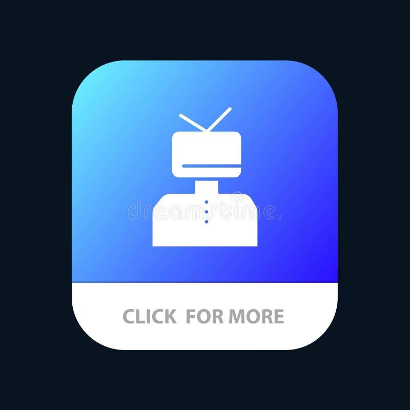Affirmation, affirmations, estime, heureuse, bouton mobile d'appli de personne Android et version de Glyph d'IOS illustration libre de droits