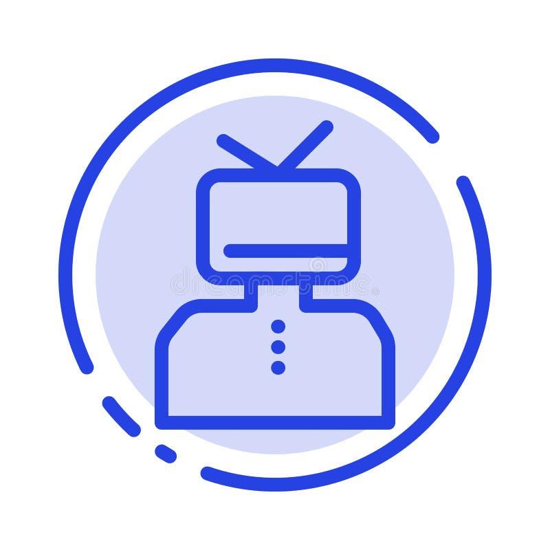 Affirmation, affirmations, estime, heureuse, ligne pointillée bleue ligne icône de personne illustration stock