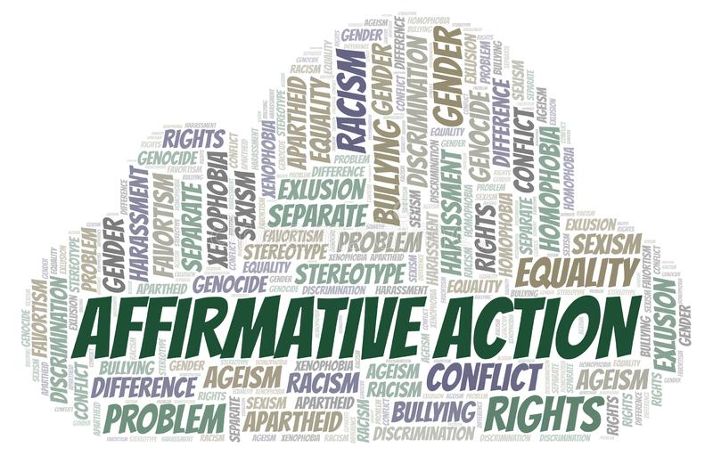 Affirmative Action - type of discrimination - word cloud. Wordcloud made with text only royalty free illustration