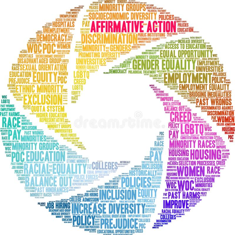Affirmative Action Word Cloud. On a white background stock illustration