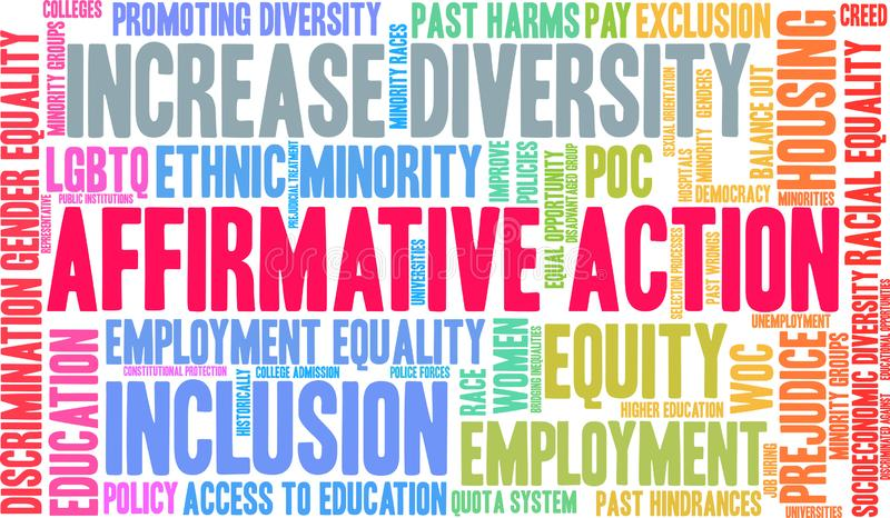 Affirmative Action Word Cloud. On a white background vector illustration