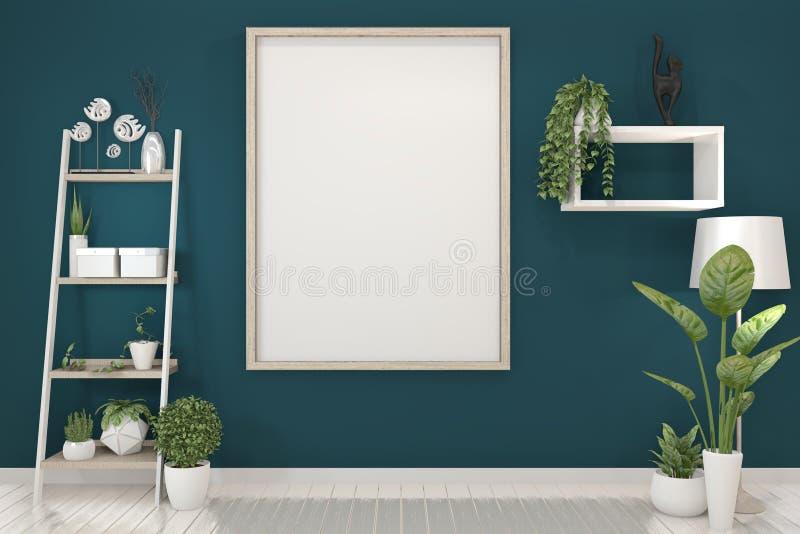 Affischåtlöje upp med den tomma träramen på mörkt - blåa vägg- och garneringväxter framf?rande 3d stock illustrationer
