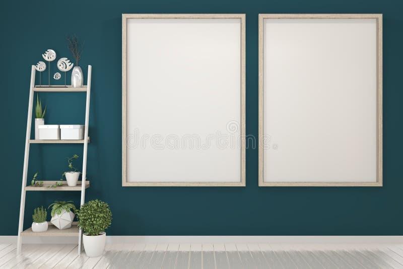 Affischåtlöje upp med den tomma träramen på mörkt - blåa vägg- och garneringväxter framf?rande 3d royaltyfri illustrationer