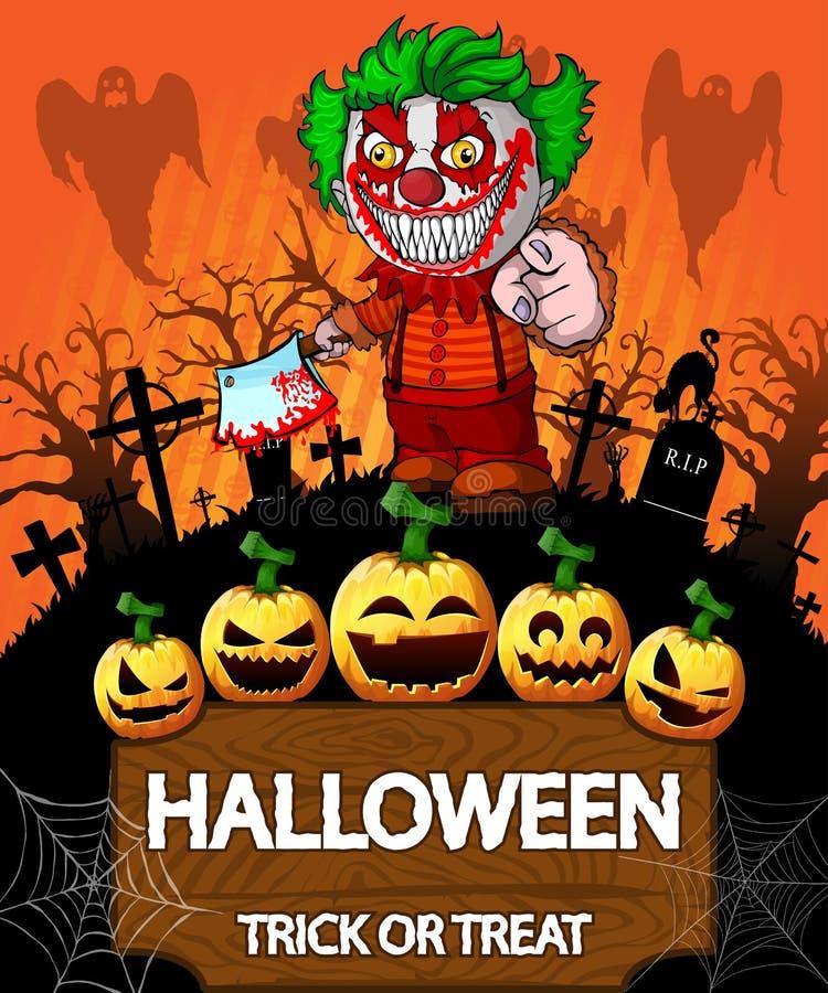 Affisch av allhelgonaaftonen med clownen som rymmer en knif också vektor för coreldrawillustration vektor illustrationer