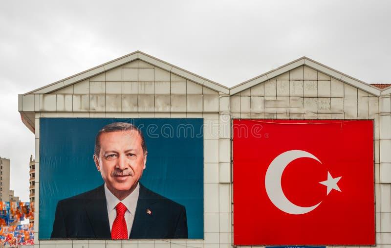 Affisch av den turkiska premiärministern Recep Tayyip Erdogan royaltyfria bilder