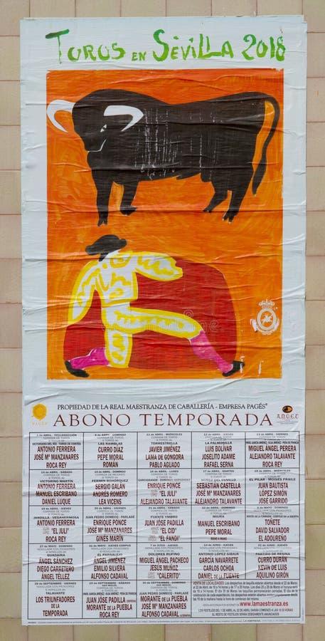 Affisch av en tjurfäktning från Seville i Spanien fotografering för bildbyråer