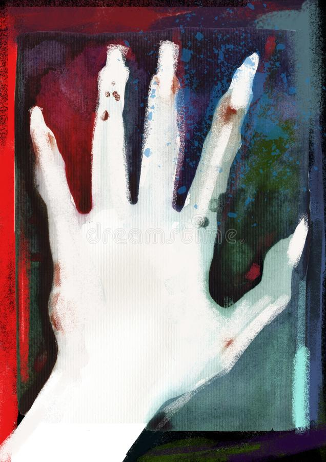 Affisch av handen på det Helloween allhelgonaaftonpartiet Wattercolor neonillustration på diskolevande död, monster och vampyrhän royaltyfri illustrationer