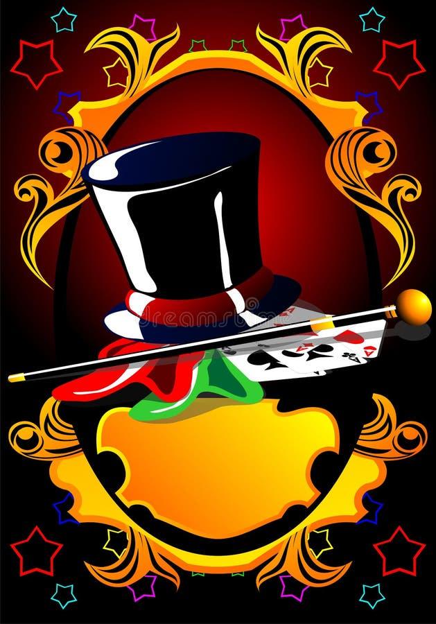 Affisch av illusionisten (mörker, tappning). royaltyfri illustrationer