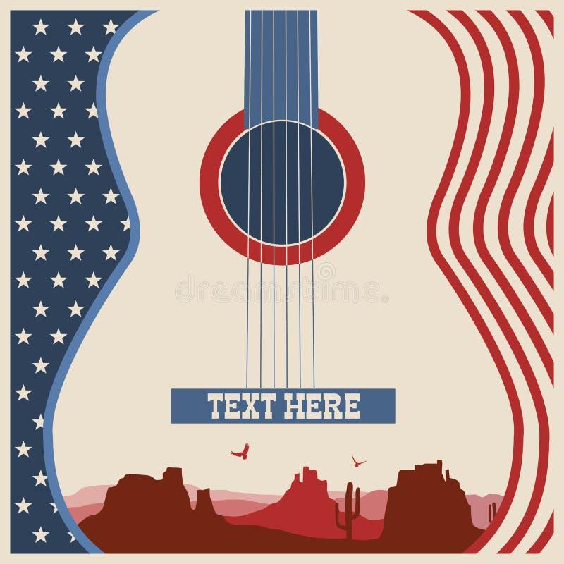 Affisch av konsertmusikfestivalen med gitarren vektor illustrationer