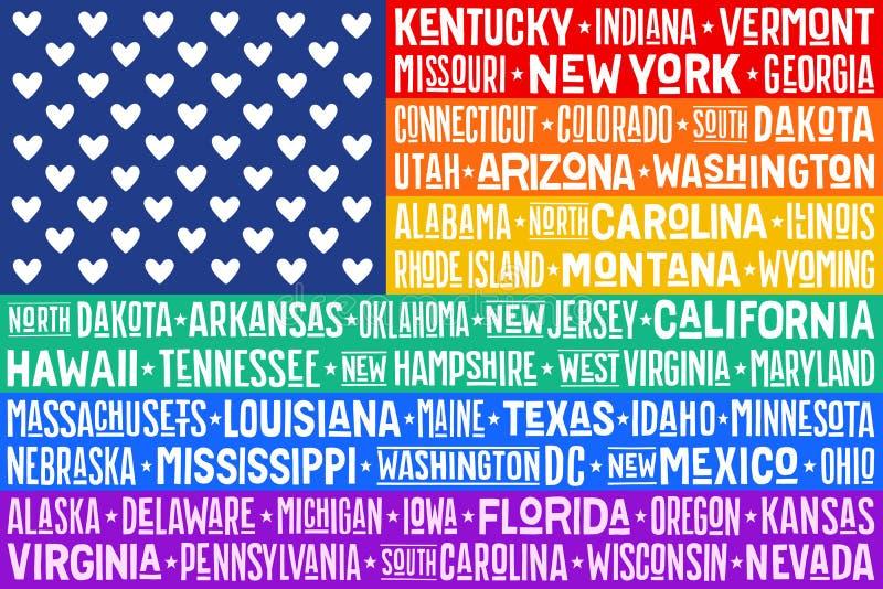 Affisch av regnb?geAmerikas f?renta staterflaggan royaltyfri illustrationer