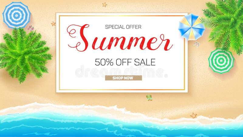 Affisch av sommarförsäljningshandling Få upp till femtio procent rabatt Tropiskt landskap med det blåa havet och guld- sand, över royaltyfri illustrationer