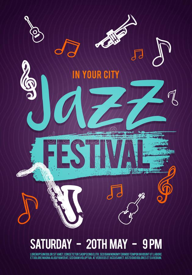 Affisch, biljett eller program för musik för vektorillustrationjazz Hand som dras med borsteslaglängder för jazzfestival royaltyfri illustrationer