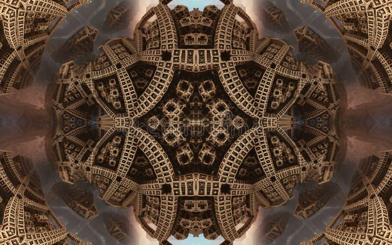 Affisch eller bakgrund för epos abstrakt fantastisk Futuristisk sikt från inre av fractalen Modell i form av pilar arkivfoto