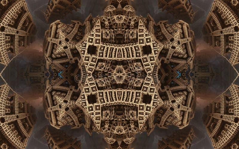 Affisch eller bakgrund för epos abstrakt fantastisk Futuristisk sikt från inre av fractalen Modell i form av pilar arkivbild