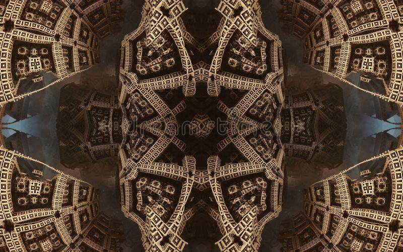 Affisch eller bakgrund för epos abstrakt fantastisk Futuristisk sikt från inre av fractalen Modell i form av pilar fotografering för bildbyråer