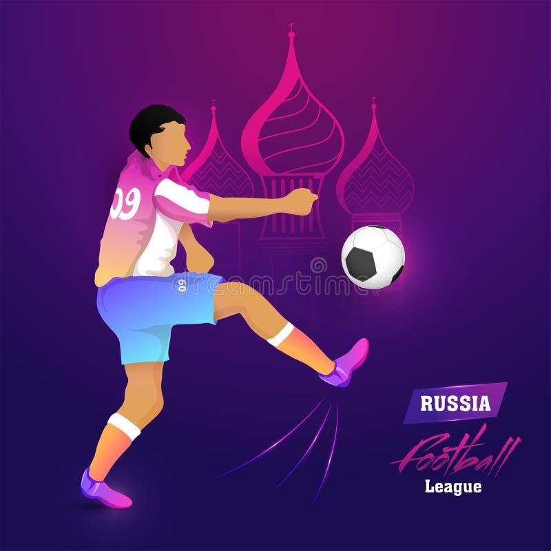 Affisch eller baner för begrepp för Ryssland fotbollliga med footbal royaltyfri illustrationer