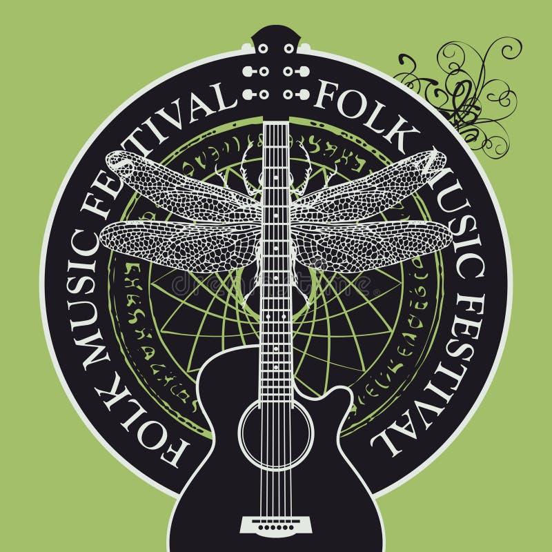 Affisch eller baner för folkmusikfestival med gitarren stock illustrationer