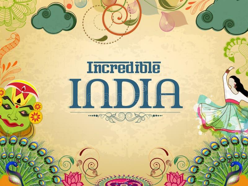 Affisch- eller banerdesign av oerhörda Indien stock illustrationer