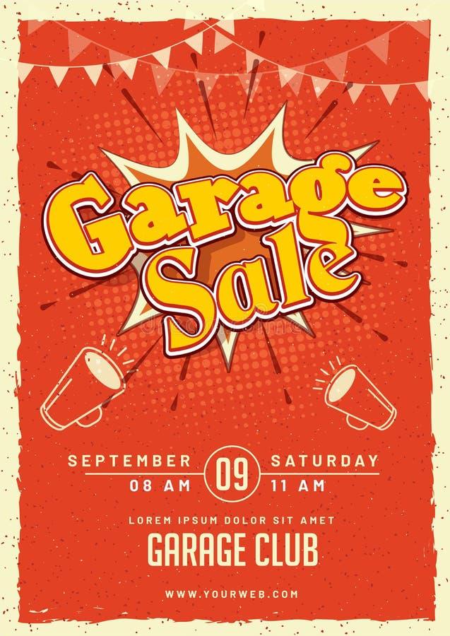 Affisch eller banne för meddelande för garage- eller gårdförsäljningshändelse tryckbar royaltyfri illustrationer