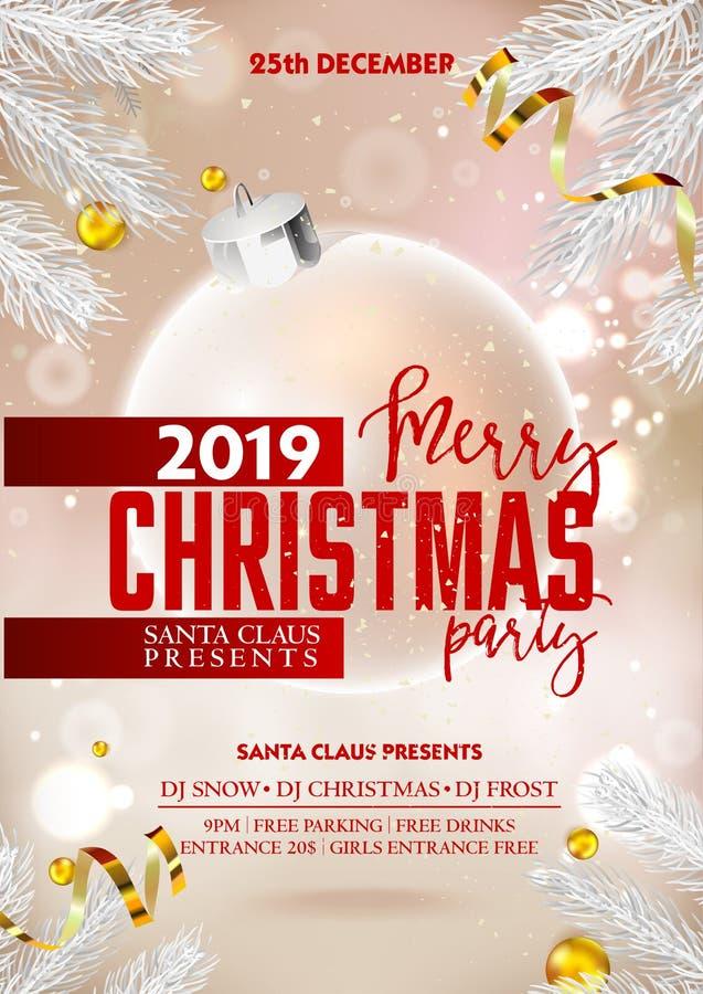 Affisch eller reklamblad för parti för glad jul med xmas-garneringbollar och band stock illustrationer