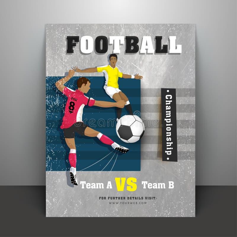 Affisch- eller reklambladdesign med fotbollsspelareteckenet, matchdetaljer royaltyfri illustrationer