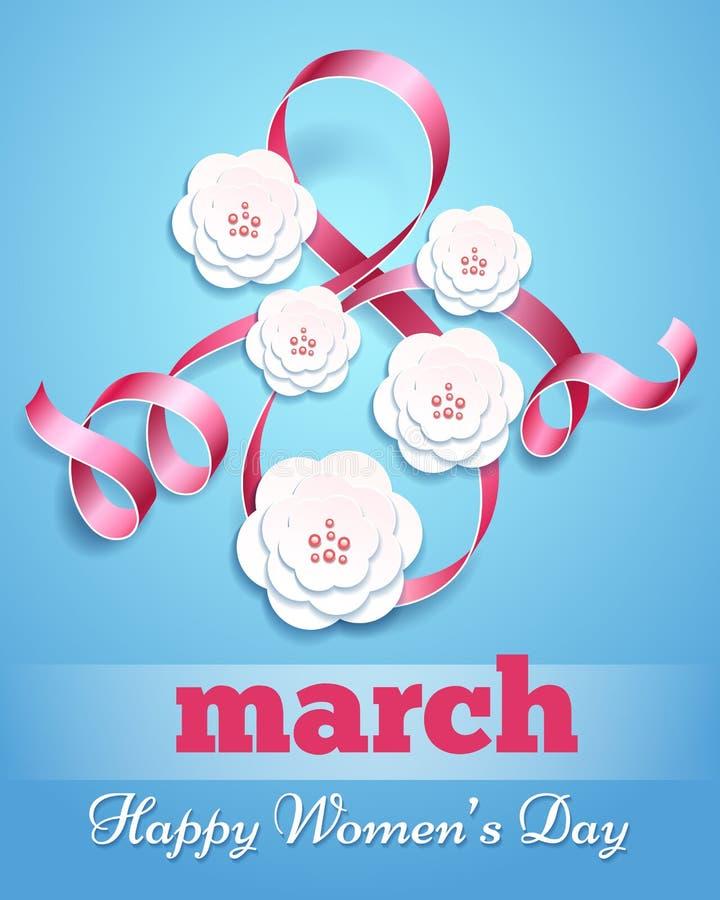 Affisch för åtta marsch med pappers- blommor vektor illustrationer