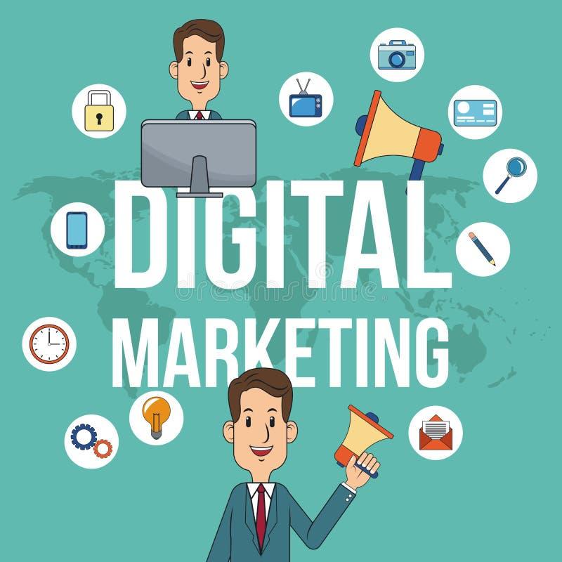 Affisch för aktion för teamwork för Digital marknadsföringsman vektor illustrationer