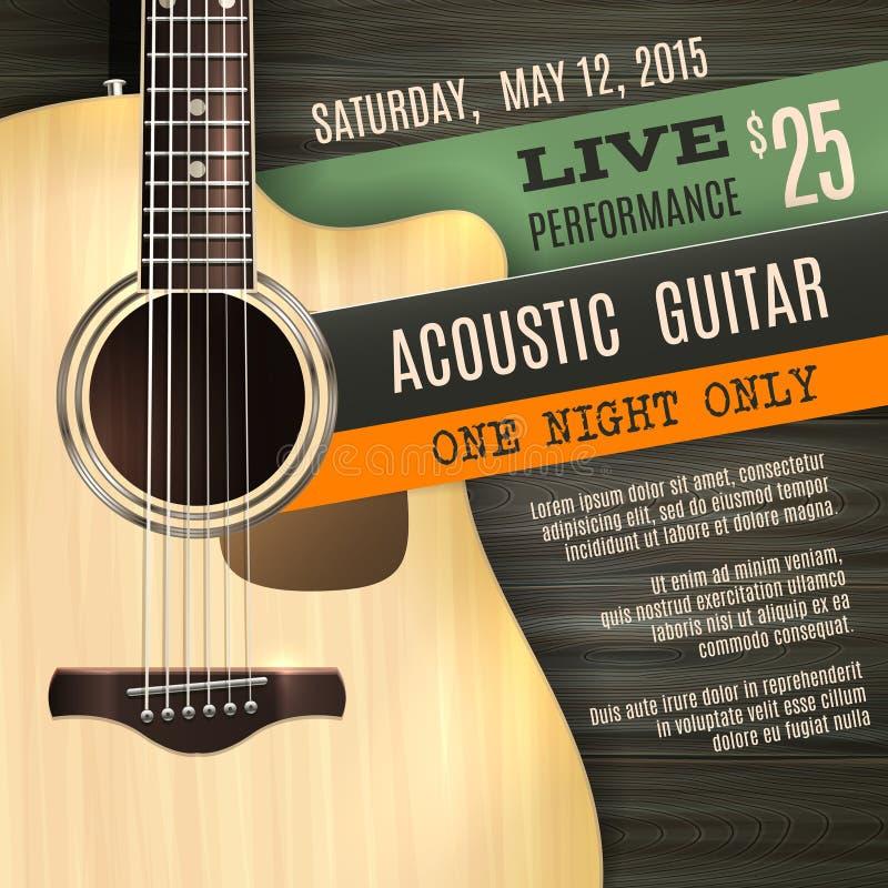 Affisch för akustisk gitarr stock illustrationer