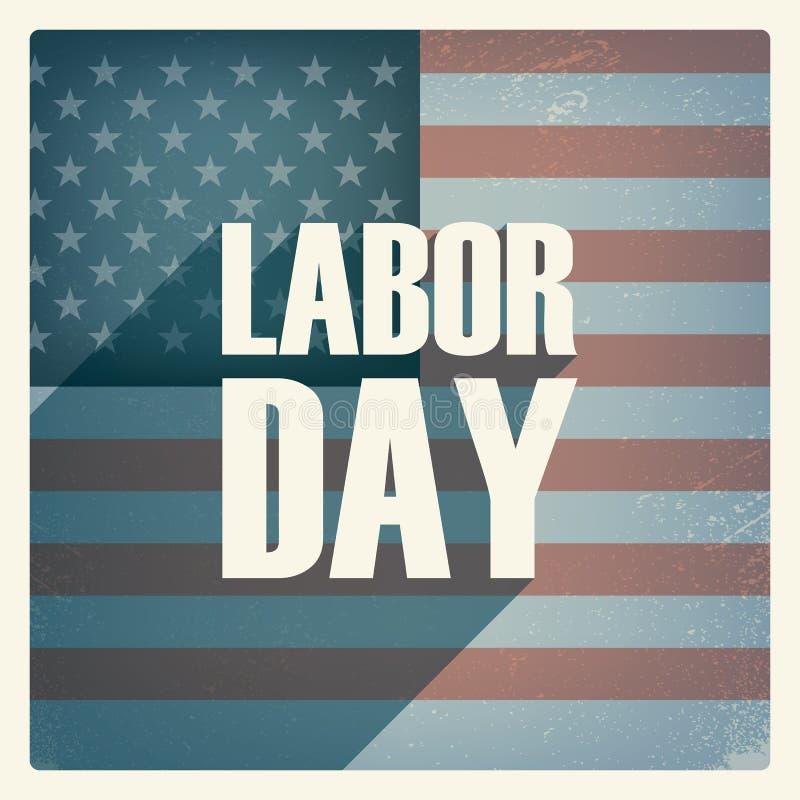 Affisch för arbets- dag Tappninggrungedesign patriotiskt vektor illustrationer