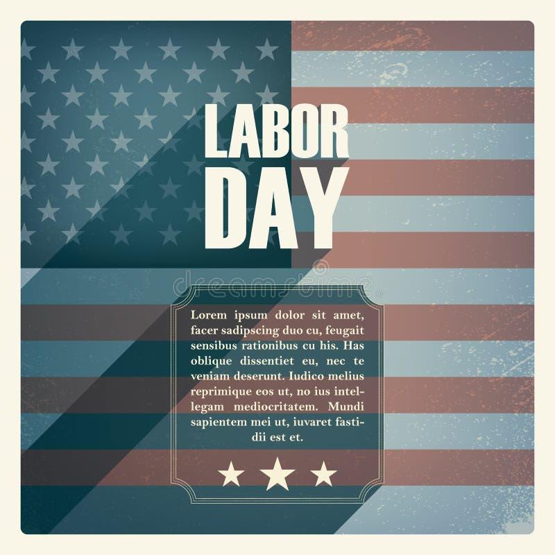 Affisch för arbets- dag Tappninggrungedesign patriotiskt stock illustrationer
