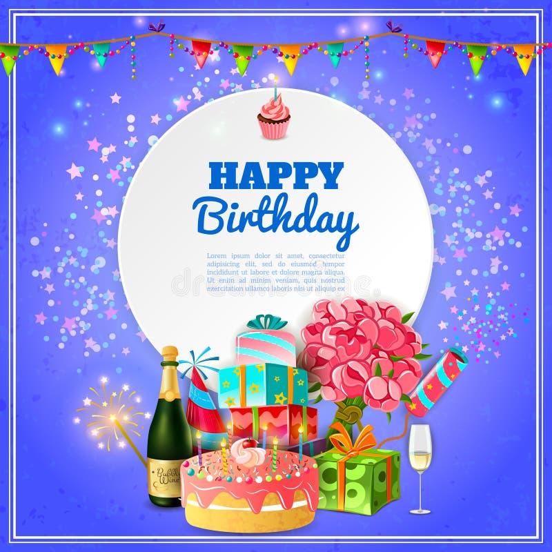 Affisch för bakgrund för parti för lycklig födelsedag royaltyfri illustrationer