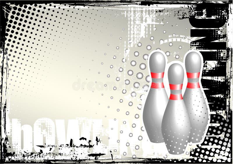 affisch för bakgrundsbowlinggrunge vektor illustrationer