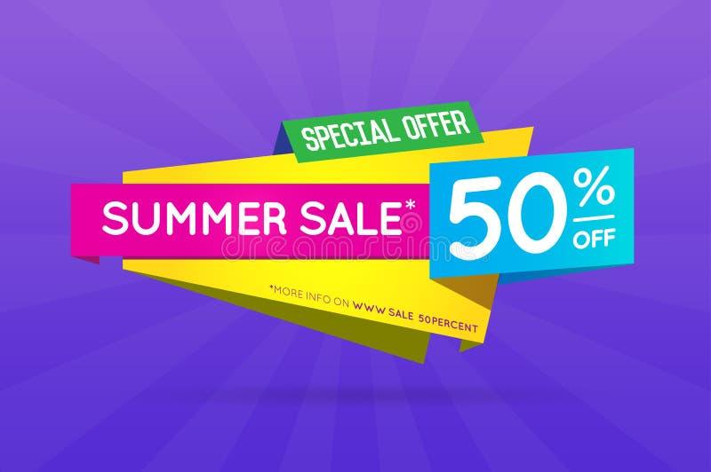 Affisch för baner för sommarSale tecken som är klar för rengöringsduk och tryck vektor royaltyfri illustrationer