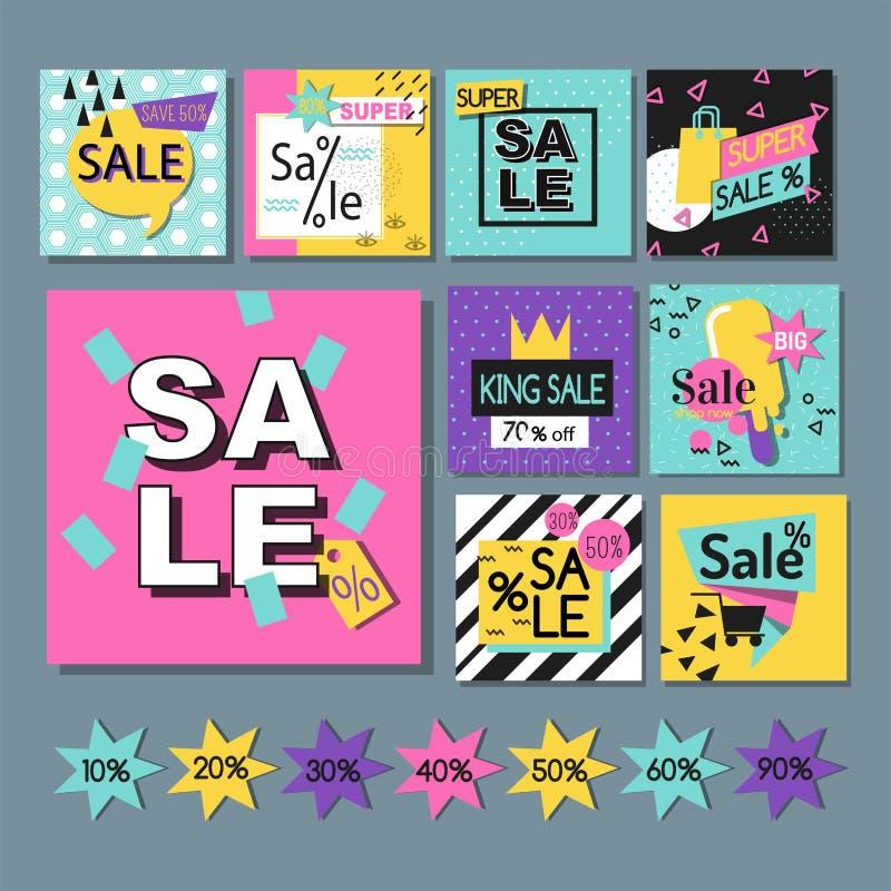 Affisch för befordran för rabatt för vår för stor för försäljning för specialt erbjudande för vektorillustration för flayer mall  royaltyfri illustrationer