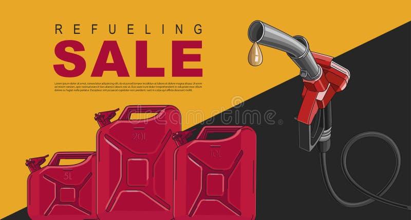 Affisch f?r bensinstation med att tanka nozzel- och oljakanistrar, mallorientering stock illustrationer