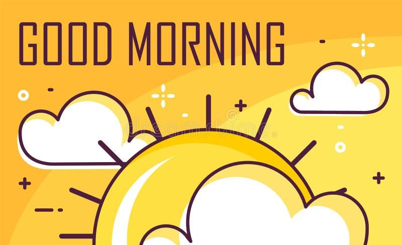 Affisch för bra morgon med moln och solen Tunn linje lägenhetdesign i lager vektor för baner eps10 mapp vektor illustrationer